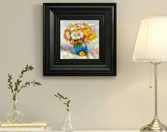 Original Oil Painting still life Flowers Bouquet in Vase Hand Painted Flowers Art Calendula Home Living room bedroom hall wall decor