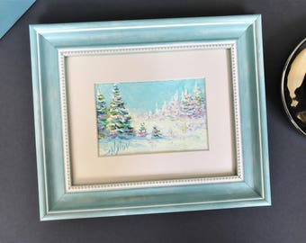 "Original Small oil painting winter countryside framed ready to hang landscape 8x9.5"" classical russian fine art wall home decor snow forest"