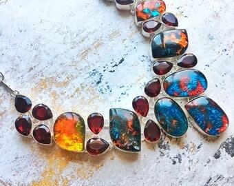 Luxurious Dichroic Glass, Pomegranate Red Garnet Gemstone Necklace