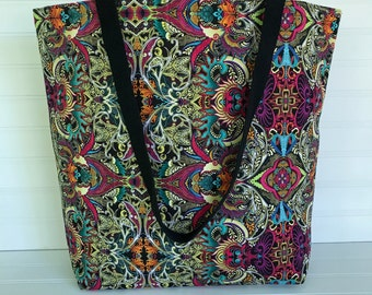 Handmade Everyday Tote | Beach Bag | Multicolored Psychedelic Tote