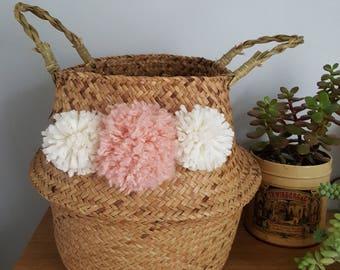 Foldable basket ball Thai - storage Bohemian - ethnic - Willow - tassels - M