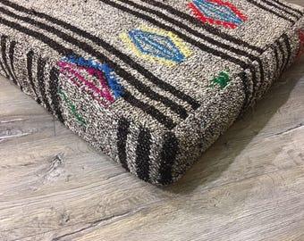 Gray Floor Cushions Kilim Pouf Black Striped Chair Cushions Home Decor Decorative Pillows Bohemian Cushions Bar Stools P15006
