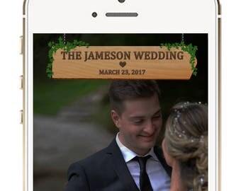 Wedding Snapchat Geofilter, Rustic Wood Wedding Snapchat Filter, Wedding Ideas, Snapchat Geofilters, Rustic Wedding Geofilter