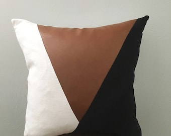 Modern Leather and linen pillow cover