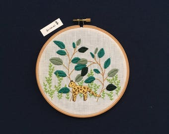 Leopard jungle embroidery