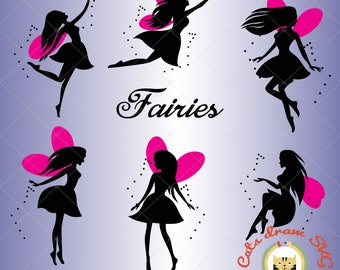 Fairy svg, tinker bell svg, dxf, eps, studio v3, jpeg, png, file for Silhouette Cameo, Curio, cut file for cutting machines, vector, instant