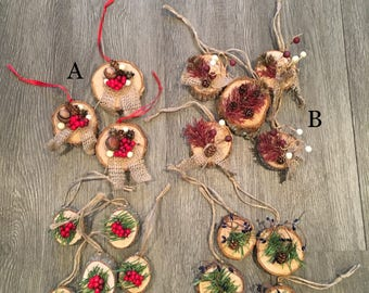 Christmas Ornaments, Christmas Decorations, Teacher Gift, Wood Slice Ornaments, Rustic Christmas Decoration, Rustic Decor, Wood Christmas