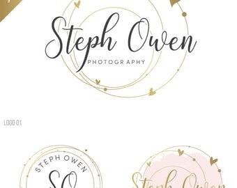 Heart logo, Watercolor Wedding Logo Design, Gold Photography Logo, Premade wedding planner logo, Anniversary logo, Calligraphy logo, 096