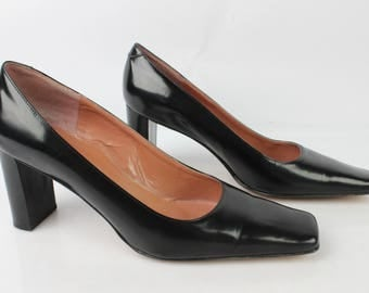 Vintage MANFIELD pumps all leather black Uk 5 / Fr 38 condition 1734