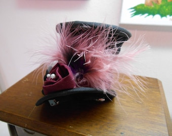 Rose Bud Mad Hatter Top Hat with Fabric Rose & Pearls w Matching color Feathers/Shabby Chic Black Top Hat/Miniature Top Hat/Mad Hatter Hat
