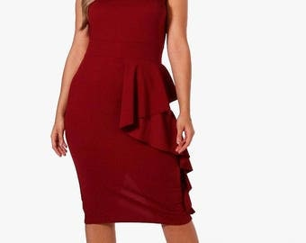 Ruffle Pleats Bandeau Wrap Dress - Off Shoulder Ruffle Detail Dress