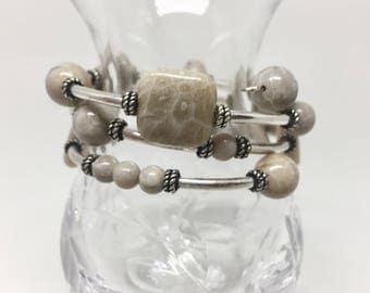 Petoskey stone bracelet, Petoskey stone jewelry, fossil bracelet, semi precious stone bracelet, Michigan bracelet, beige bracelet