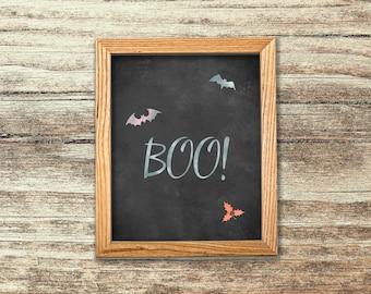 Boo Printable Sign, Halloween Print, Boo Watercolor Print, Halloween Chalkboard Printable Decor, Halloween Party Decor,  Funny Halloween