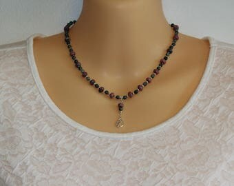 Rhodonite & Chinese Eagle Eye Gemstone Necklace