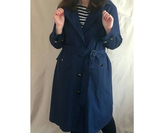 Nina Ricci 90s classic Trench coat / navy airlines flight attendant coat vintage 90s designer trench coat vintage paris french trench coat