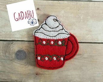 Hot Cocoa/ Coffee Mug/ Christmas / Fall feltie. Embroidery Design 4x4 hoop Instant Download. Felties