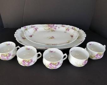 Vintage Weimar Germany Platter Cups Set Purple Floral Rare 1920s