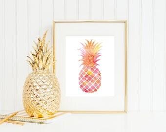 Watercolor Pineapple Print - Tropical Beach Art - Pink and Orange Watercolor - Preppy Decor - Lilly Pulitzer Print - Watercolor Art