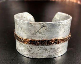 Aluminum and Etched Copper Cuff