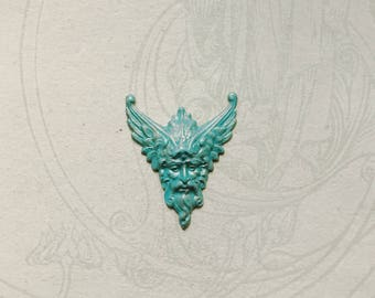Greek Revival Winged God Deep Turquoise Paint and Lightly Highlighted w/Gilders Paste