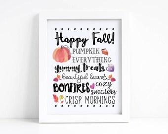 Fall Printable - Fall Decor - Autumn Printable - Autumn Decor - Seasonal Decor - Pumpkin Decor - Happy Fall Print - Happy Fall Decor