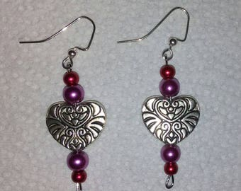 Tibetan Silver Heart Charm Earrings with Accent Beads