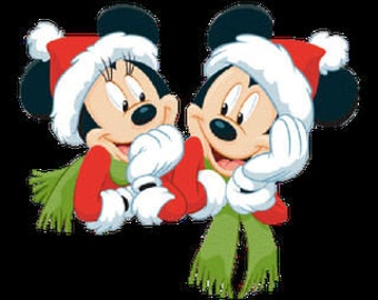 Mickey & Minnie Christmas Iron On Transfer