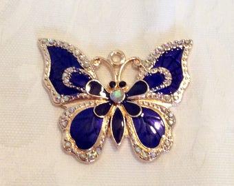 Pendant, Butterfly Pendant, Blue Butterfly Pendant, Blue Butterfly Pendant with Rhinestones
