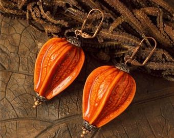 Orange Statement Earrings Botanical Nature Earrings Polymer Clay Floral Earrings African Ethnic Earrings Chinese lantern Physalis jewelry