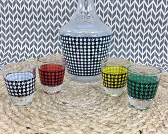 D'Arques Houndstooth Decanter and Shot Glasses