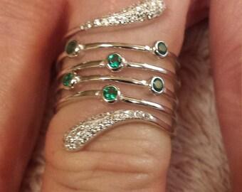 Vintage Gatsby Emerald & White Topaz Gemstone Spiral Art Deco Sterling Silver Ring, .75 ct.  Size - 7