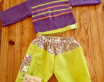 Pantalon élastiqué en coton vert/glands