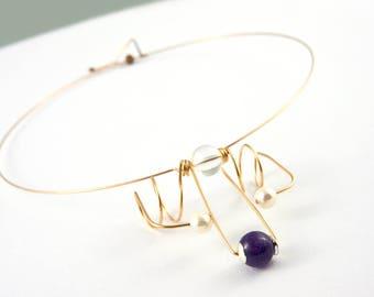 Purple necklace, Amethyst necklace, Quartz necklace, Gemstone jewelry, Bronze jewelry, Minimalist necklace, Gemstone necklace, OOAK necklace