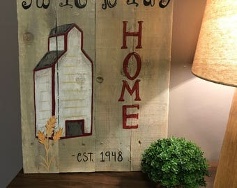 Personalized grain elevator/ barn painting pallet wood