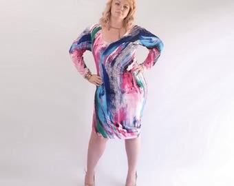 Paint Me Bright. Watercolor Colorful Asymmetric  Artistic Dress, Plus Size Dress, Bright Painted Dress, Blue Pink White Dress. Size L-XL