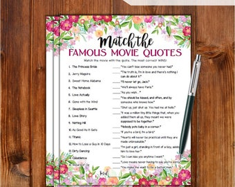 Famous Movie Quotes Match Game Bridal Shower Game - Flowers Theme Printable Movie Quotes Match Game - Bachelorette Party