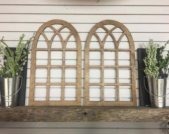 Vintage Arch Window Wood Frame