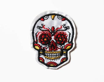 Sugar Skull Patch - Iron On Patch - Sew on Patch - White Embroidered Skull - Dia de los Muertos Skull Patch - White Applique Skull