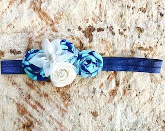 "POLYNESIAN BLUE Rosette & Pearl 15"" baby headband"