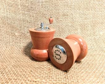 Vintage Mid Century Modern Wooden Salt Shaker and Pepper Grinder