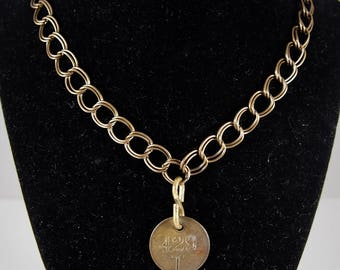 Antique Metal Tag + Antique Gold Chain Necklace