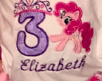 Princess crown number & my little pony pinkie pie Birthday shirt