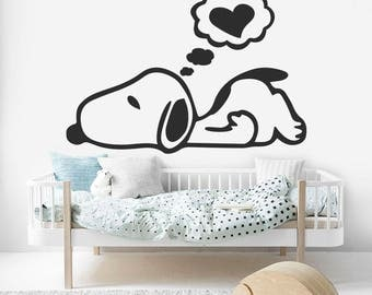 Snoopy Wall Art, Snoopy Wall Decal, Snoopy Kids Decal, Snoopy Sticker, Kids Room Decal, Baby Room, Nursery Wall Decal, Bedroom Decal, KW06