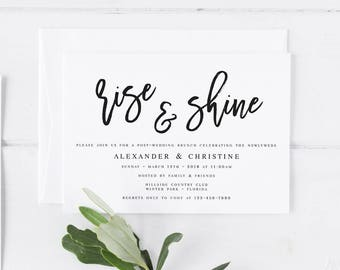 Modern Wedding Brunch Invitation Template Rise And Shine Invitation Post  Wedding Invitation Editable Wedding Brunch Invite