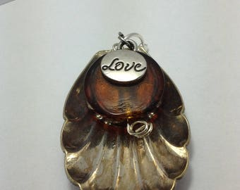 spoon bowl pendant with love charm