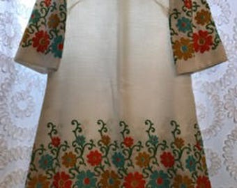1960's Embroidered Shift Dress