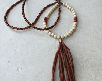 Long Brown Tassel Necklace...Silk tassel necklace / Brown and beige tassel necklace / Long rustic necklace with silky red brown tassel
