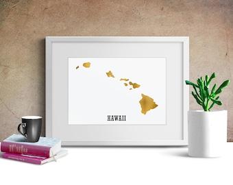 Hawaii Artwork, The Aloha State, Hawaii Foil Sign, Gold Silver Hawaii Picture, Golden Islands, Hawaiian
