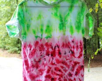 Watermelon Tie Dye Shirt, Watermelon Shirt, Dip Dye T Shirts, red and green tie dye, Upcycled tie dye t shirts, Ombre tie dye