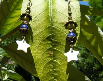 "Lapis lazuli and mother of pearl earrings ""Earth - mother Star"""